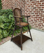 Antique English High Chair Child Caned Barley Twist Oak Makerand039s Tag Victorian
