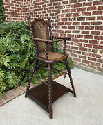 Antique English High Chair Child Caned Barley Twist Oak Maker's Tag Victorian
