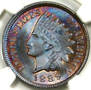 🔥🟤🔴🟣🔵🔥😍ngc Ms65 Bn 1889 Indian Head Cent