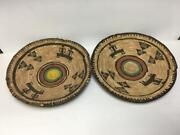 Vintage Set Of 2 Nigerian African Hausa Basket Woven Coil Tray Round 12.5