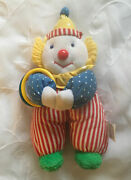 Vintage Eden Clown Plush Toy 80s Blue Red Yellow Green Terry Cloth Shoes