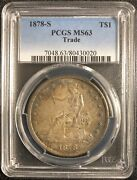 1878-s Trade Dollar Ms63 Secure Plus Pcgs