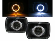Grand Wagoneer 84-91 4d Guide Led Angel-eye Projector Headlight Bk For Jeep Lhd