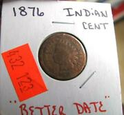 1876 Indian Head Penny Free Shipping In U.s.a.