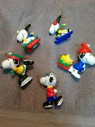 Vintage 1990s Whitmans Peanuts Snoopy Christmas Ornament Figures Approx2-3 Tall