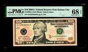 Special Serial Number Gj33330333a 2004 10 Federal Reserve Note Pmg Gem 68 Ep