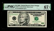 Special Serial Number Dc22202222a 2003 10 Federal Reserve Note Pmg Gem 67 Epq