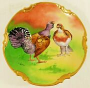 Antique 11 Limoges France Hand Painted Signed L Coudert Game Bird Charger Plate