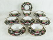 8 Crown Staffordshire Bullion Cups And Saucers 8174 White Peacock And Roses On Black