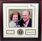President Gerald R. And Betty Ford Signed Autograph Photo Display - Jsa Loa