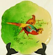 Antique 10 Limoges France Hand Painted Signed L Coudert Game Bird Charger Plate