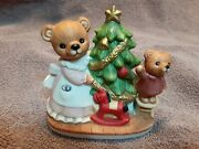 Vintage Home Interiors Christmas Bearsmom And Baby Decorate The Tree 5114