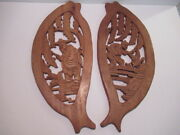 Sale Vintage 60's Set 2 Wall Carved Décor Taiwan Wooden Folkart Plaques-2 Poses