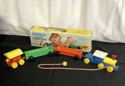 Vintage Playskool Special Wooden Freight Train 4 Piece 415 Pull Toy In Box