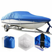 14-16ft Trailerable Boat Cover 210d Oxford Waterproof Fit Fishing Ski Boats Blue