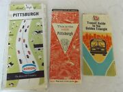 Vintage Antique Lot Of 3 Dauntaun City Of Pittsburgh Pa Maps