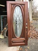 Mar 258 Antique Entrance Door Beveled Textured Glass 35 7/ By 79x 1 7/16