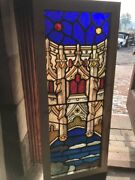 Sg 2541 Antique Painted In Fired Gothic Architecture With Clouds Stainglass Win…