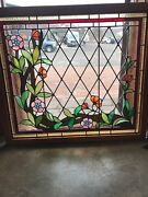Sg 2700 Antique Stainglass Floral Designed Window 39.5 X 35 Wide
