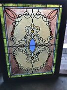 St3490 Antique Graduated Jewel Stained Glass Window 25 X 33