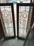Sg 1723 Match Pair Antique Oak Leaded Glass Bookcase Doors 36w By 47.75h