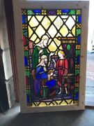 Sg 2000 Antique Painted And Fired Stainglass Window Young Jesus 27.5 X 43.25