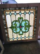 Sg 3141 Antique Celtic Stained Glass Landing Window 34.25 X 34h