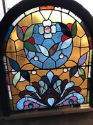 Sg 2785 Antique Victorian Stained And Jeweled Arch Window 32 By 37 Inch High