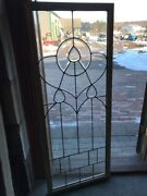 Sg 1824 Antique Leaded And Beveled Landing Window 22 X 55.25