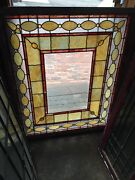 Rk 8 Antique Stained Glass Chunk Jewel Beveled Center Landing Window 41 X 48
