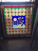 Sg 1498 Antique Painted In Fired East Lake Window 41.25 X 40 2w
