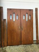 Bova 2 Pair Antique Beveled Glass Oak Double Doors 5andrsquo X 82.75 With Jamb