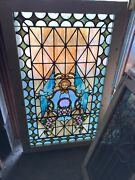 Sg 3051 Antique Stained Glass Landing Window Painted And Fired Center 29 X 47