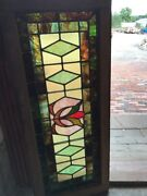 Sg 2498 Antique Gorgeous Stain Glass Transom Window 16 X 38