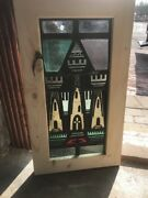 Sg 2250 Antique Painted And Fired Stainglass Window Houses Of The Holy 15 1/8 Xandhellip