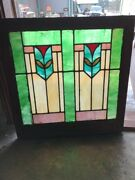 """Sg1742 Antique Deco Design Stain Glass Window 28.2 5w By 29""""h"""