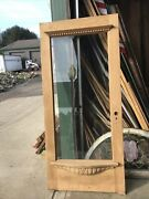 An 631 Antique Stripped Beveled Glass Carved Entrance Door 37.75 X 82.5 X 1.75
