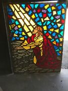 Mc 16 Antique Christ In Garden Chunk Stained Glass Window 44 X 59