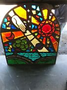 Mc 4 Antique Chunk Stained Glass Arch Window Hand Of God Sun 48.5 X 44