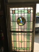Sg 2562 Antique Stainglass Landing Window Trees Double Hung 34.5x 71.5