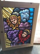 Sg 2490 Antique Painted In Fired 2angel Cherub Face Window 21 X 28