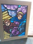 Sg 2491 Antique Painted And Fired Blue And Purple Wing Angel Cherub Window 21 Xandhellip