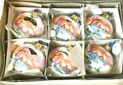 Fhp Max Box Of 6 Ball W Pink Seaside Village Glass Christmas Ornaments Poland
