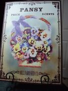 Pansy Metal Sign Mill Seed Farm Co 16-1/2 Tall By12 Wide