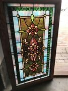 Sg 2741 Antique Stainglass Window With Many Jewels 20.5 X 36.25