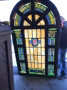 Marcan 7 Av Antique Painting And Fired Stained Glass Arch Window 50 X 86 X8andrdquo
