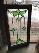 Sg3113 Antique Stain And Leaded Glass Window 20.5 X 35