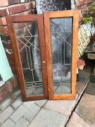 Sg 2896 Match Pair Antique Leaded Glass Bookcase Doors 24 X 35.5