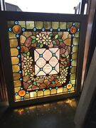 Sg 3392 Jeweled Stained Beveled Glass Landing Window 35.25 X 39h