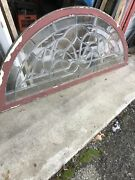 Mk 114 Gorgeous Antique All Beveled Glass Arch Window 28 X 63
